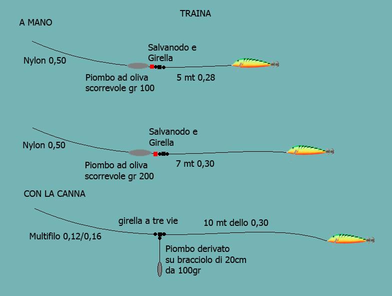 Terminali per calamaro a traina